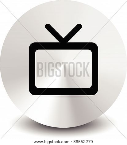 Modern Icon With Television Symbol With Antenna. Vector Element For Home Entertainment, Tv Channel,