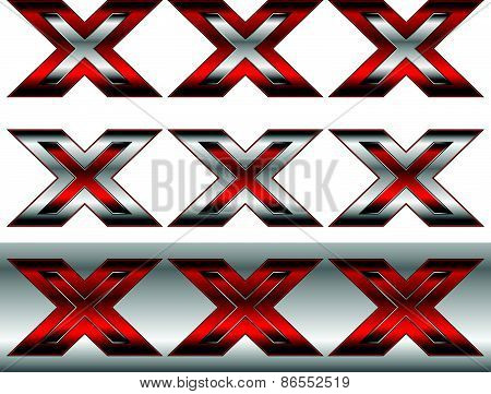 Triple X, Cross Graphics In Metallic And Red