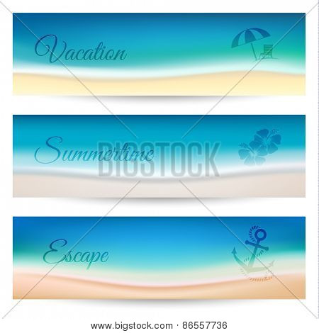 Summer holidays banners with coastline waves - eps10