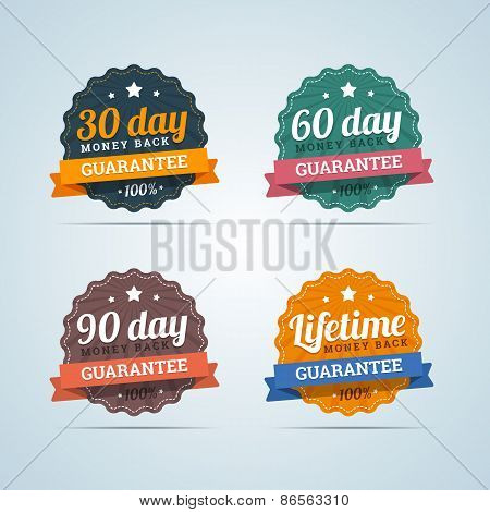 Set of money back guarantee badges in flat style. 30, 60, 90 day