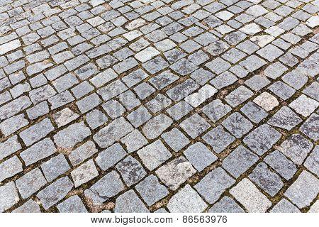 Grey granite cobblestone pavement sidewalk texture background poster