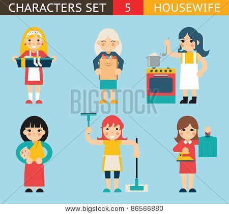 Housewife Characters Icon Set Symbol with Accessories on Stylish Background Flat Design Concept Temp