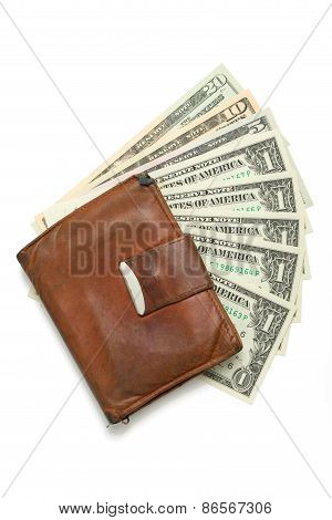 leather wallet with money banknotes US dolars nominal value one five ten and twenty isolated on white poster