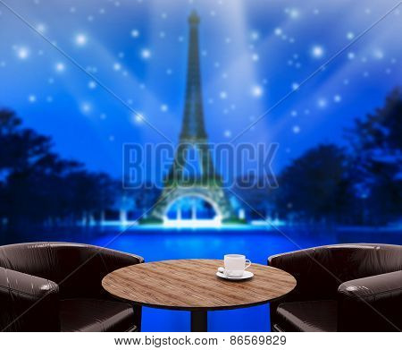 Wood Table Top Background In Holiday