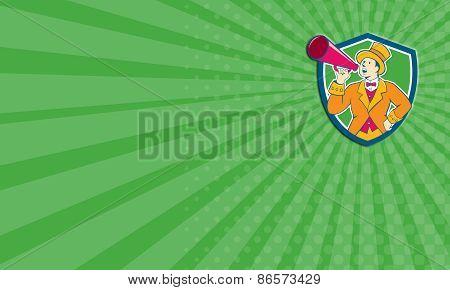 Business Card Circus Ringmaster Bullhorn Crest Cartoon