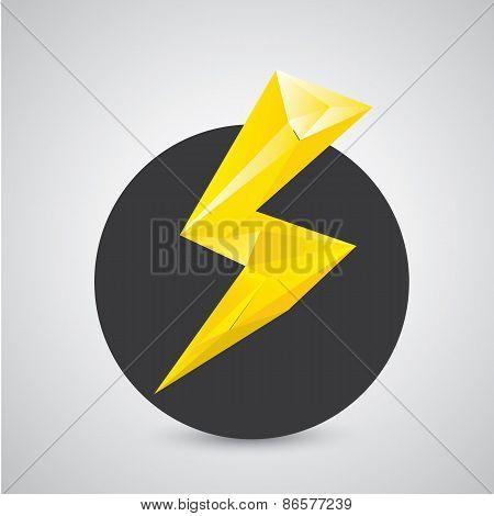 orange lightning bolt vector icon. Lightning logo