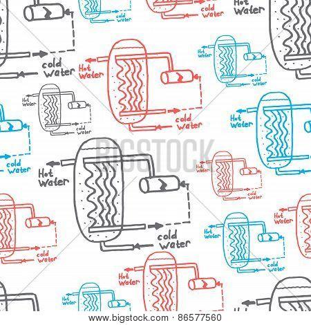 Vector File. Sketch Of Engineering Heat Energy Networks Of Engineering Equipment Pipelines, Gas Pipe
