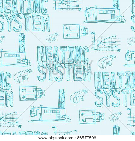 Boiler room equipment engineering systems. Sketch. Vector file. Gas heat cold and hot water. Utilities. Boiler room operator locksmith. Seamless poster