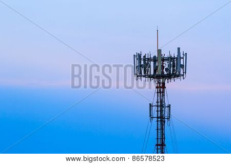 Mobile Phone Telecommunication Radio Antenna Tower. Telecoms Cell Phone Tower.
