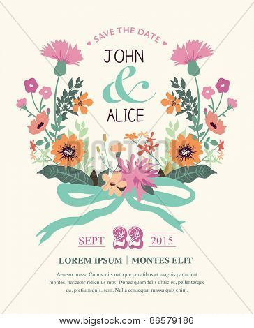 Save the date. Wedding invitation card with beautiful flowers wreath.