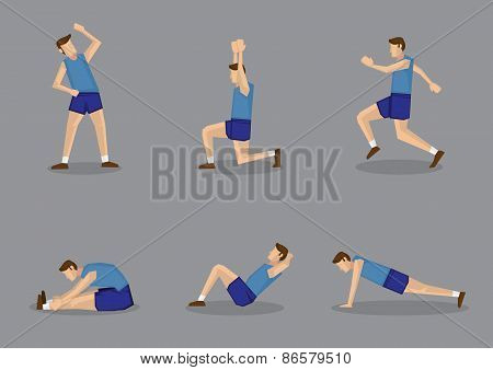 Sporty Man Doing Stretching And Warm Up Exercises
