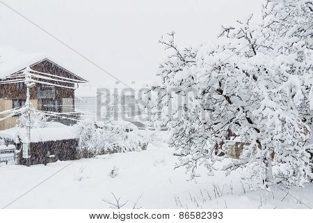 Strong Snowfall In The Small City