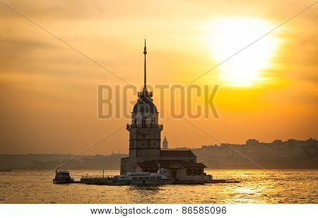 Maiden's Tower (Kizkulesi) located in the middle of Bosphorus strait in Istanbul Turkey poster