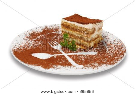 tiramisu dessert served on plate with special decoration. isolated. poster