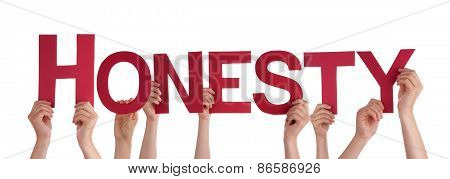 Many People Hands Holding Red Straight Word Honesty