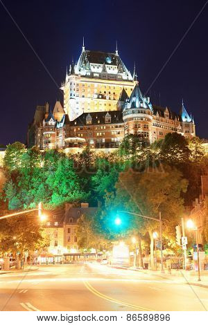 Street view with Chateau Frontenac at night in Quebec City