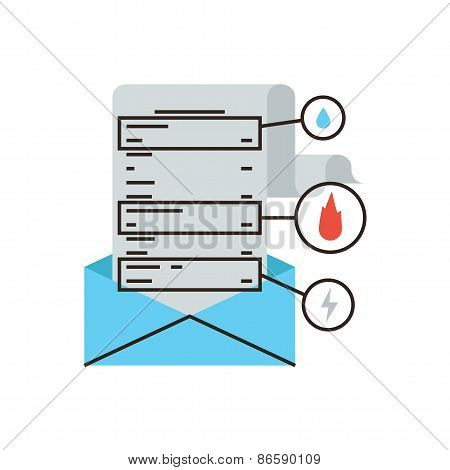 Bill Mail Notification Flat Line Icon Concept