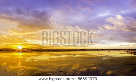 Algarve Qdl Cloudscape Sunset At Ria Formosa Wetlands Reserve, Southern Portugal.