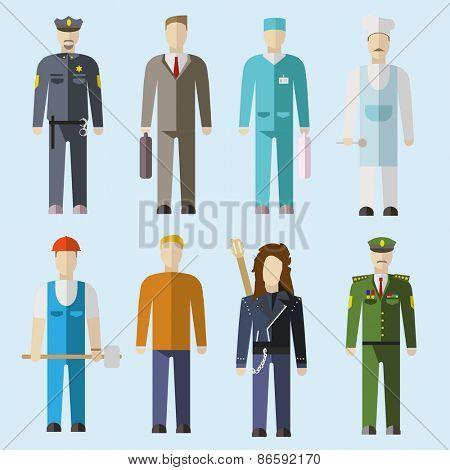Vector set of people of different professions. Flat design illustration poster