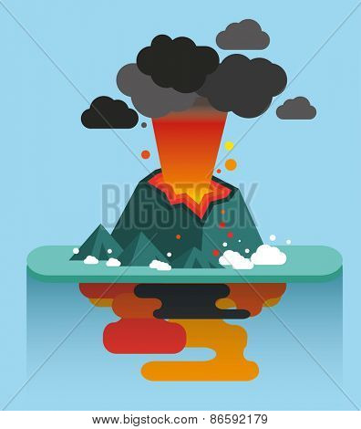 Flat illustration of natural disasters volcano island