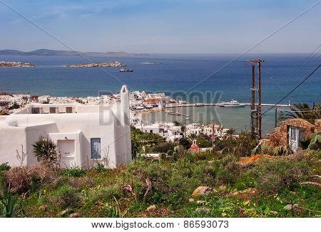 Top View Of Mykonos Town And Old Port Through The Medows. Greece.