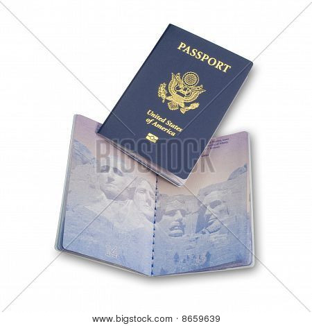 Two US passports, isolated