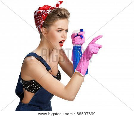 Thinking Cleaning Woman Wearing Pink Rubber Protective Gloves Holding Spray Bottle / Young Beautiful