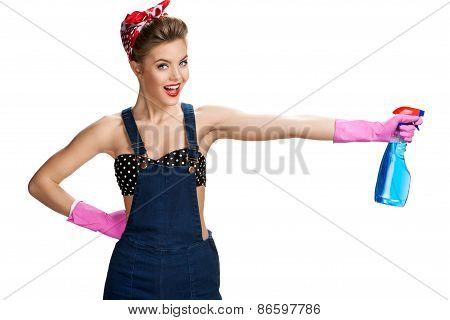 Pretty Cleaning Lady Wearing Pink Rubber Protective Gloves Holding Spray / Young Beautiful American