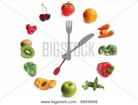 Fruit And Vegetable Clock