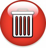 Eps 10 Vector Illustration of Trash Can Button / Trash Can Icon poster