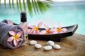 Balinese spa setting, pink frangipani with aromatherapy oil  poster