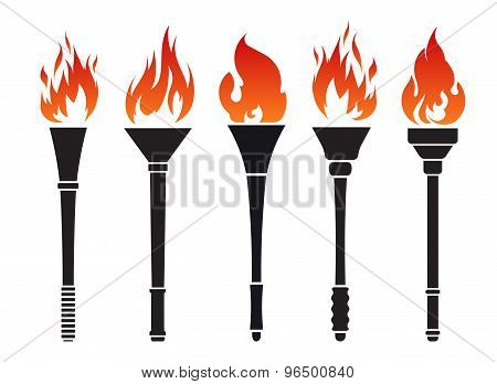 Set of five vector torches with fire poster