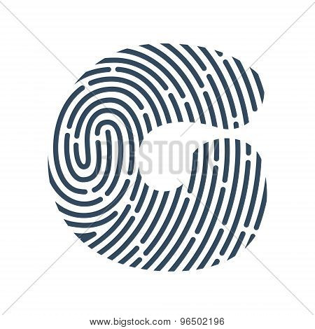 G Letter Line Logo. Vector Fingerprint Design.