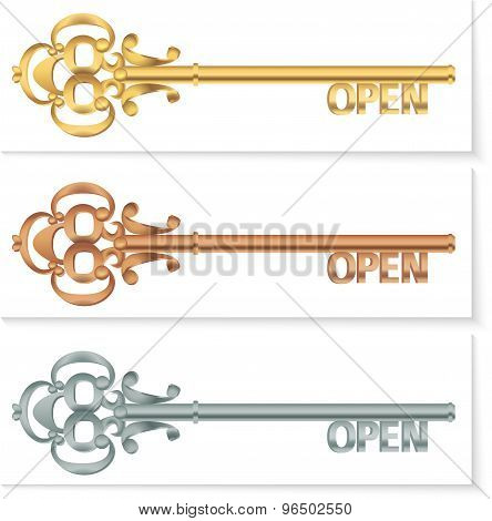 Set-of-vintage-golden-key-to-open-the-bronze-silver