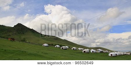 Mongolian Yurts Near  Ullaanbaator In Mongolia