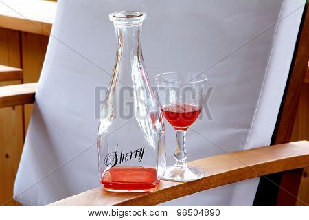 Sherry Bottle With Glass