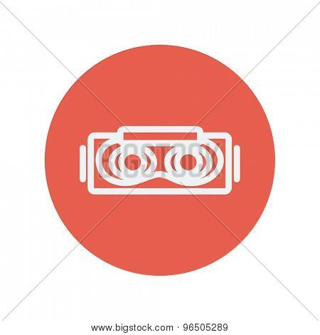 Virtual reality mask thin line icon for web and mobile minimalistic flat design. Vector white icon inside the red circle.