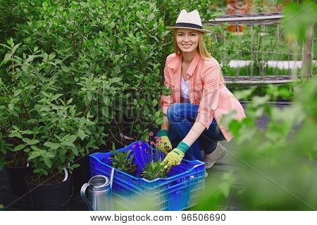 Smiling gardener looking at camera while replanting garden flowers