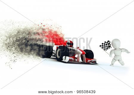 3D render of a generic racing car at the finishing line with speed special effect