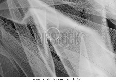 two wedding rings seen through folds of bride's veil