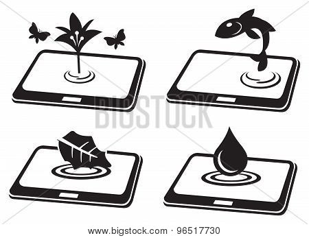 Natural Symbol On Tablet Computer Conceptual Vector Icon Set
