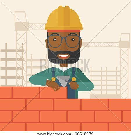 A smiling black builder wearing a hard hat buiding a brick wall. A Contemporary style with pastel palette, soft beige tinted background. Vector flat design illustration. Vertical layout with text