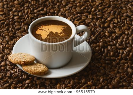 Still Life - Coffee With Map Of Afro-eurasia