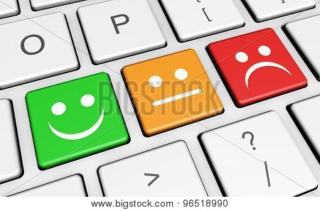 Business quality service customer feedback rating and survey keys with smiling face symbol and icon on computer keyboard. poster