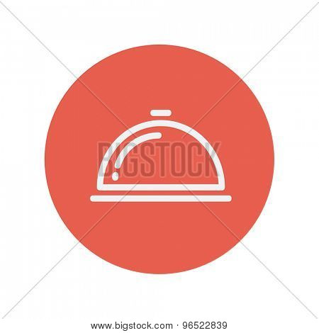 Food cover thin line icon for web and mobile minimalistic flat design. Vector white icon inside the red circle