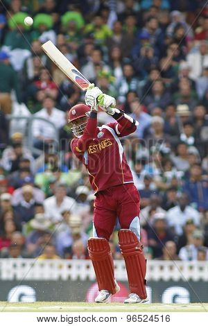 LONDON, ENGLAND - June 07 2013: West Indies Marlon Samuels during the ICC Champions Trophy cricket match between Pakistan and The West Indies at The Oval Cricket Ground.