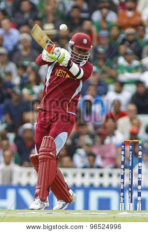 LONDON, ENGLAND - June 07 2013: West Indies Marlon Samuels batting during the ICC Champions Trophy cricket match between Pakistan and The West Indies at The Oval Cricket Ground.