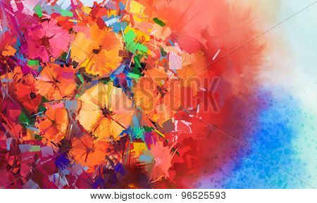 Abstract Oil Painting A Bouquet Of Gerbera Flowers