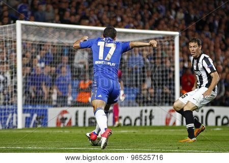 LONDON, ENGLAND. September 19 2012 Chelsea's Belgian midfielder Eden Hazard runs at the Juventus goal during the UEFA Champions League football match between Chelsea and Juventus at Stamford Bridge