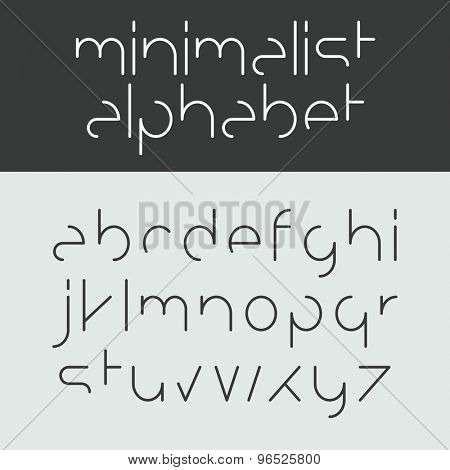 Minimalist alphabet lower case letters. Font design, vector.